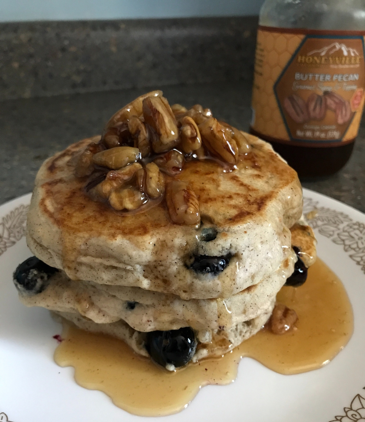 Spiced Blueberry Pancakes with Butter PecanSyrup